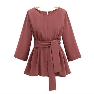Женская шифоновая рубашка с длинным рукавом, облегающая блузка большого размера 4XL 5XL с поясом-бабочкой и о-вырезом, недорогие плиссированны...