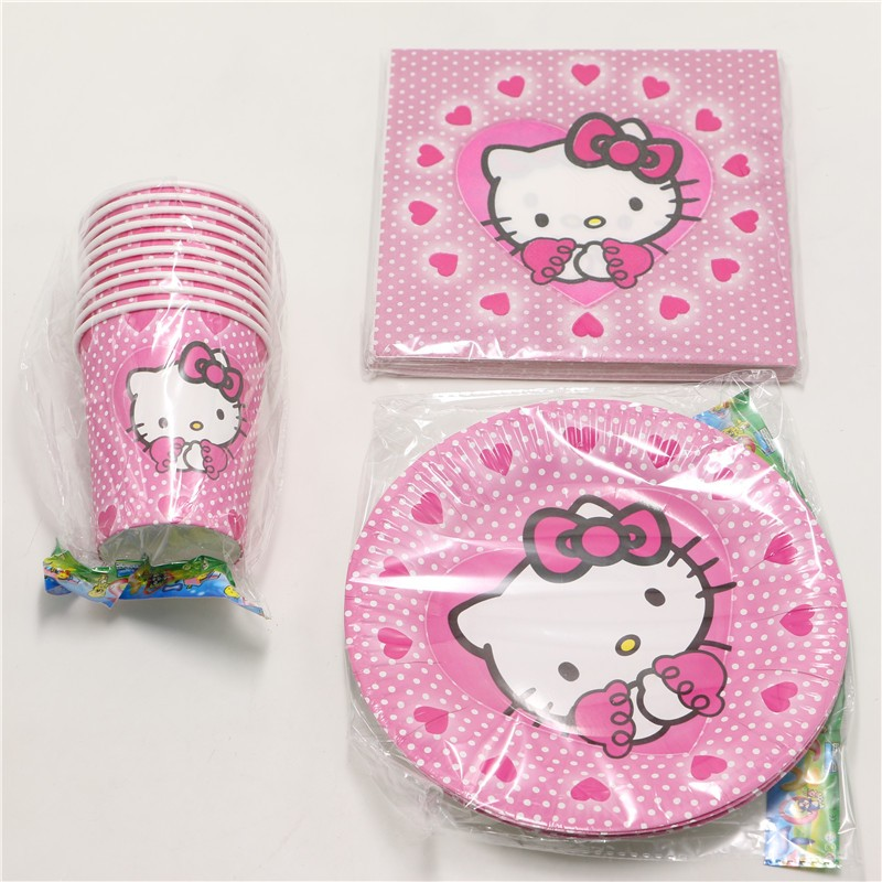 60pcs\lot Baby Shower Tissues Kids Favors Paper Plates <font><b>Cups</b></font> <font><b>Hello</b></font> <font><b>Kitty</b></font> Dishes Glass Birthday <font><b>Party</b></font> Decoration Napkins Supplies