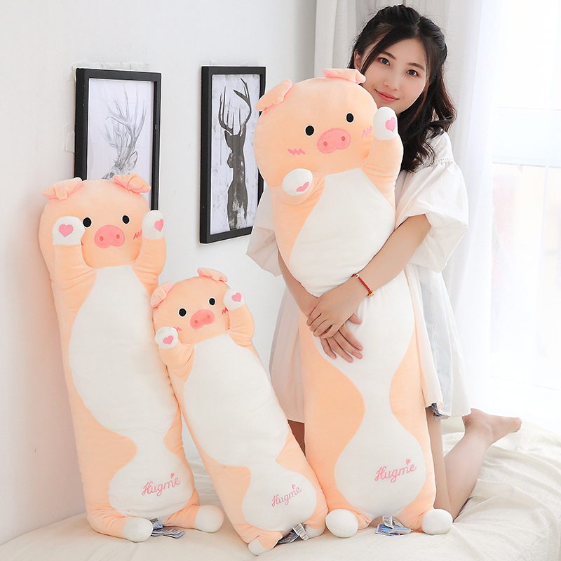 Candice guo! cute plush toy lovely heart pig hug me piggy soft stuffed doll long body pillow cushion birthday Christmas gift 1pc candice guo nici plush toy stuffed doll cute cartoon animal little fairy ayumi be you girl theme bedtime story birthday gift 1pc