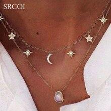 SRCOI Bohemia Star Moon Necklace Pendant Women Double Gold C