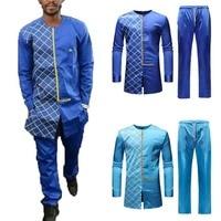 2019 Fashion Men's Set Men's Autumn Winter Luxury African Print Long Sleeve Dashiki Shirt Suit Standard Thickness Suit