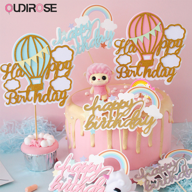 Hot Air Balloon Rainbow Cake Toppers Happy Birthday Top Flags Glitter Topper Decorations For
