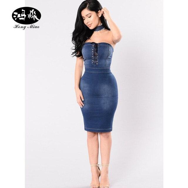 5567b3fb4a Hong Miao 2017 new Fashion strapless bodycon denim dress women summer  backless zipper elegant dress sexy club wear party dresses