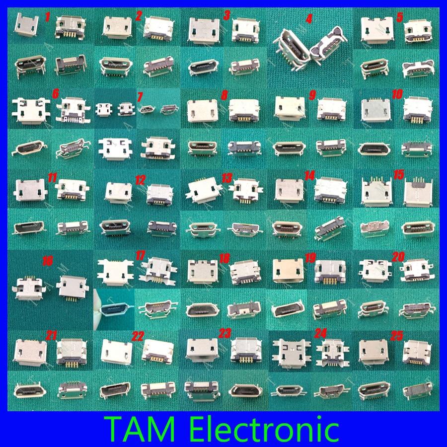 25Model Mini Micro USB Jack 5p 5pin Charging Port V8 Plug Socket Connector For HTC Huawei Lenovo ZTE Mobile Phone Tablet Pc Mid