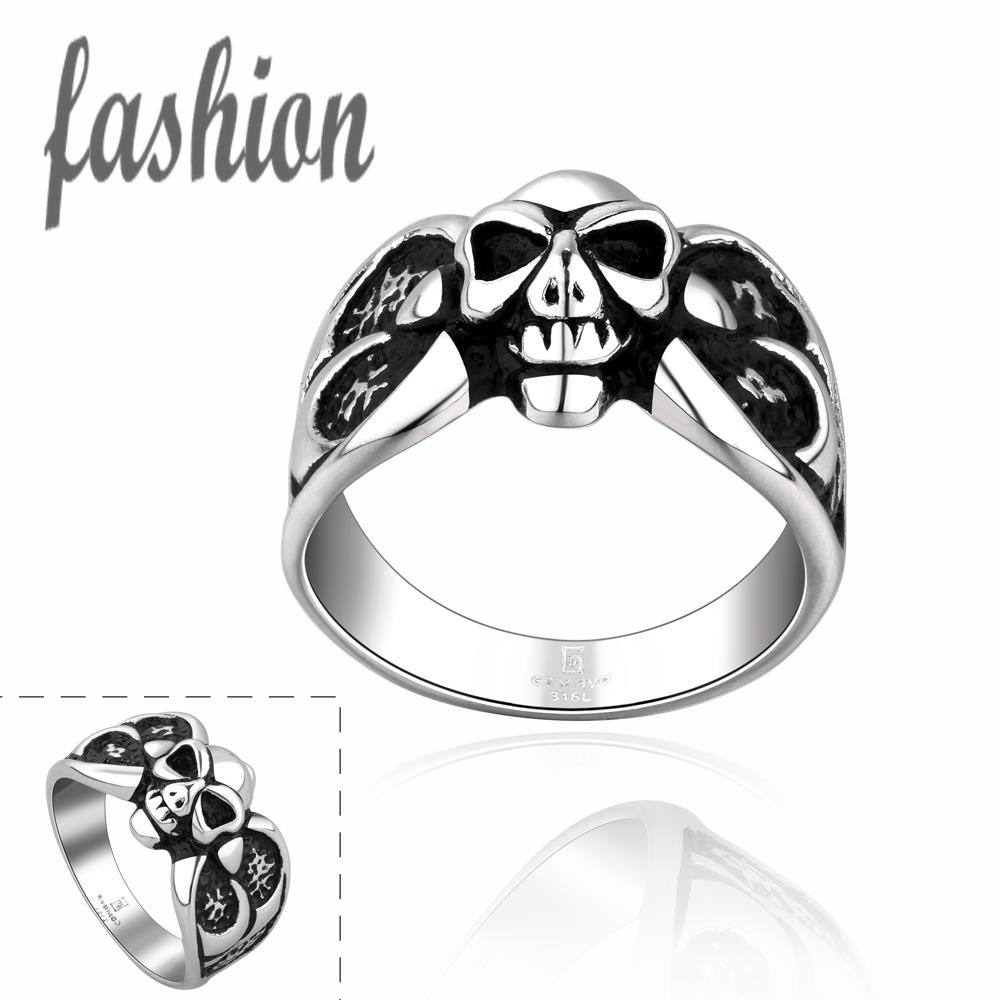 Wholesale 316L Stainless Steel Skull Ring Magic Movie Props Black Vintage Punk Style Women Mens Titanium steel Finger RIngs