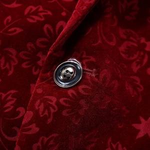 Image 4 - PYJTRL Men Autumn Winter Wine Red Burgundy Velvet Floral Pattern Suit Jacket Slim Fit Blazer Designs Stage Costumes For Singers