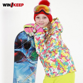 Outdoor Kids Skiing Suit Floral Printed Windbreaker Waterproof Snowboard Girls Snow Sports Tracksuit Camping Two Piece Ski Suit