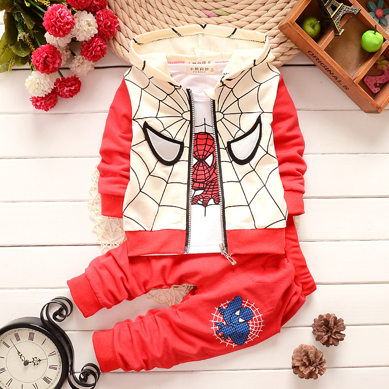 Hot New autumn spiderman clothing sets kids coat jacket+T shirt+pants 3 Pcs children suits baby girls boys minion clothes set 2015 autumn girls clothes fashion punk pu leather coat jacket shirt pants 3pcs children clothing set 4 15 years old kids clothes page 10