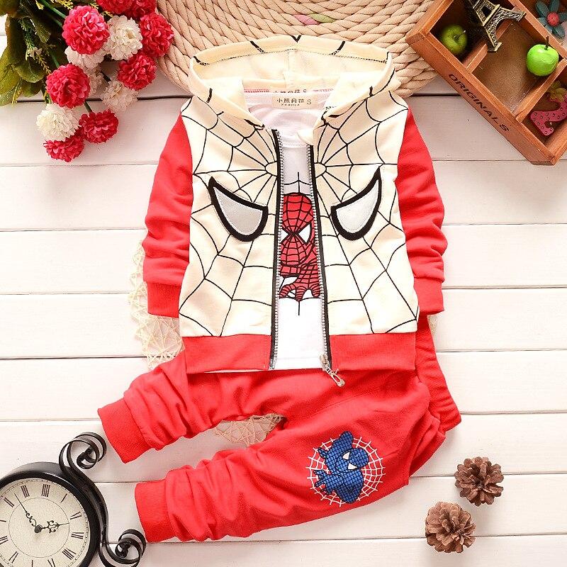 Hot New autumn spiderman clothing sets kids coat jacket+T shirt+pants 3 Pcs children suits baby girls boys minion clothes set
