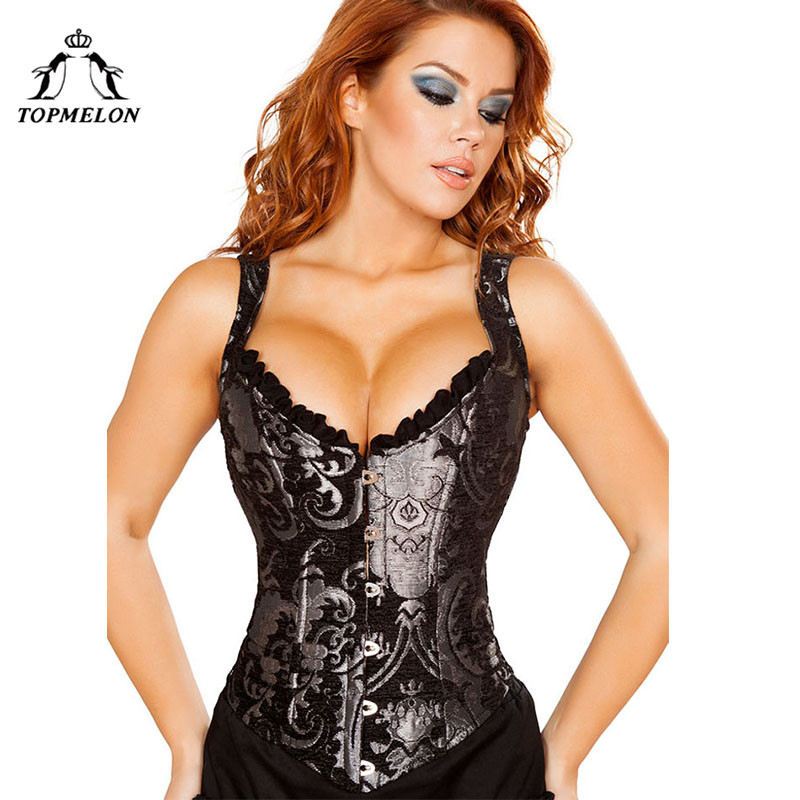 TOPMELON Steampunk Corsets and Bustiers Sexy Corset Women Bustier Gothic Corselet Retro Floral Club Shows Party Corset Tops