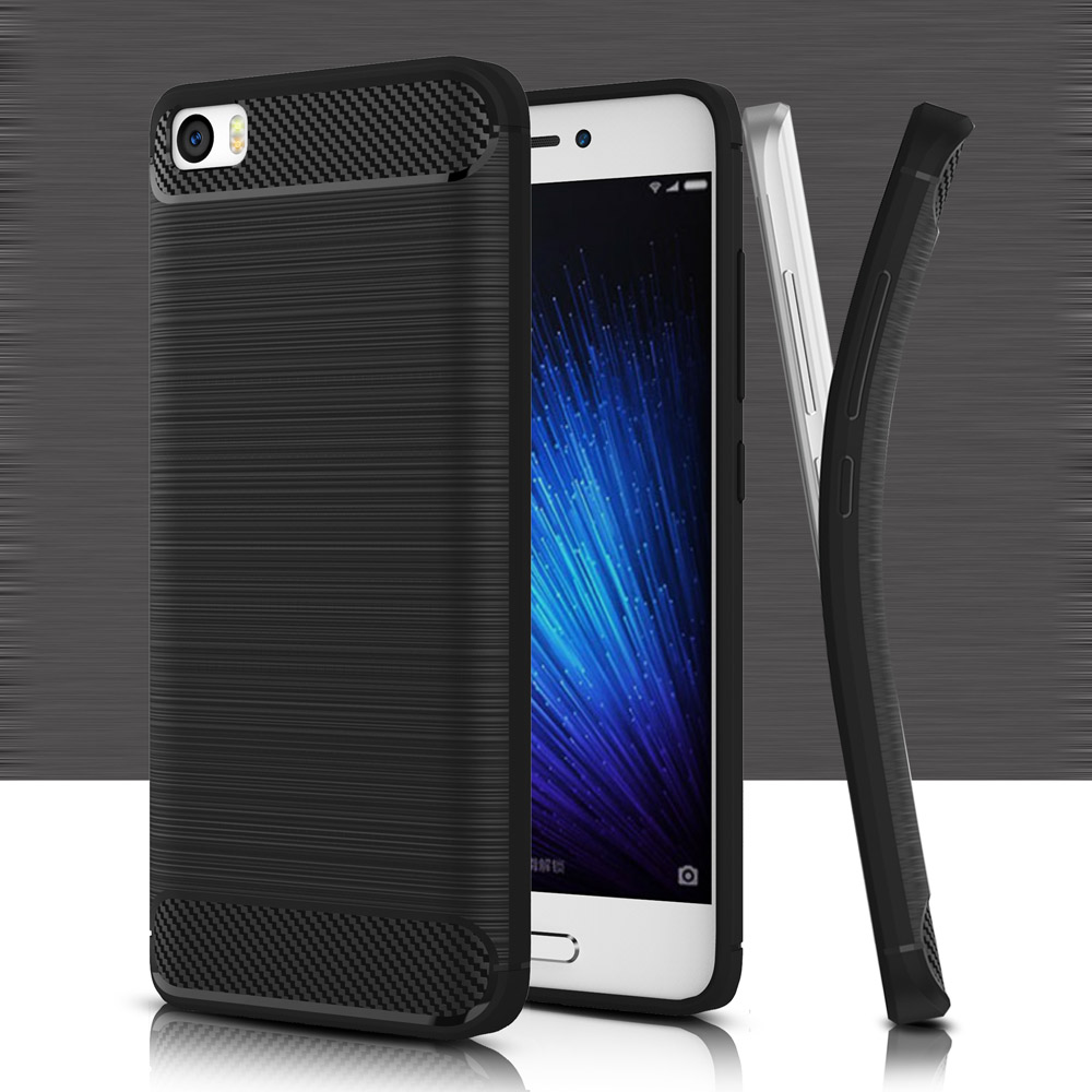 Silicone-Case Bumper-On Xiaomi M5 Cases-Cover Carbon-Fiber For 3d-Texture Shockproof