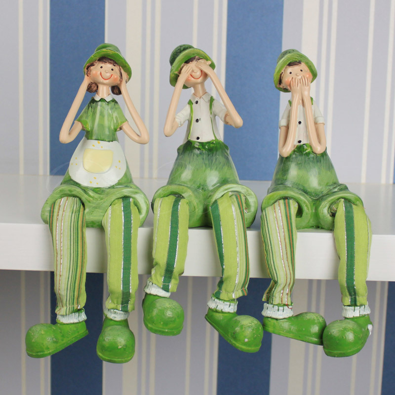 Cloud home small fresh garden green three no doll resin ornaments hanging foot table decorations