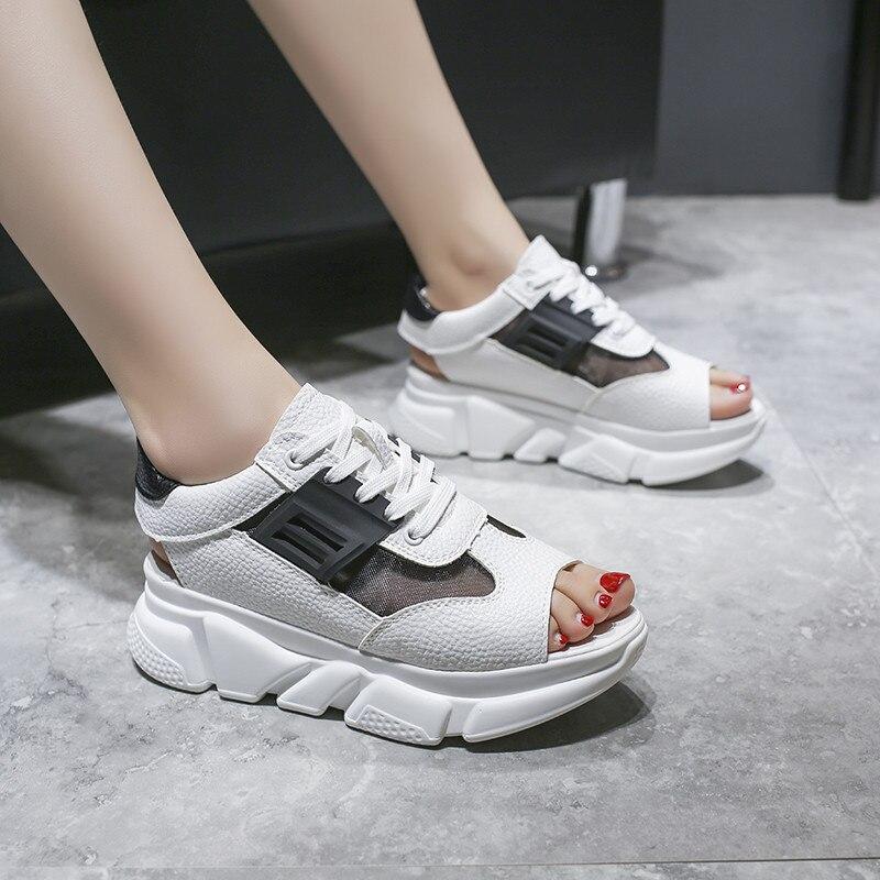 Women Sandals Sport Mesh Open Toe Breathable Shoes Wedges Platform Sandalias New