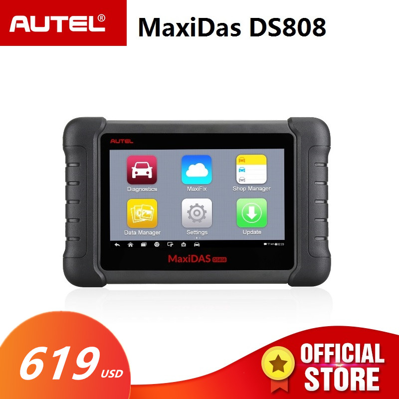 Autel MAXIDAS DS808 OBD2 Scanner Diagnostic Auto Tool OBD 2 Automotive ECU Tester ODB2 Key Programmer Immobilizer Maxisys Ms906 контейнер с голубыми чернилами t6732 для l800 c13t67324a