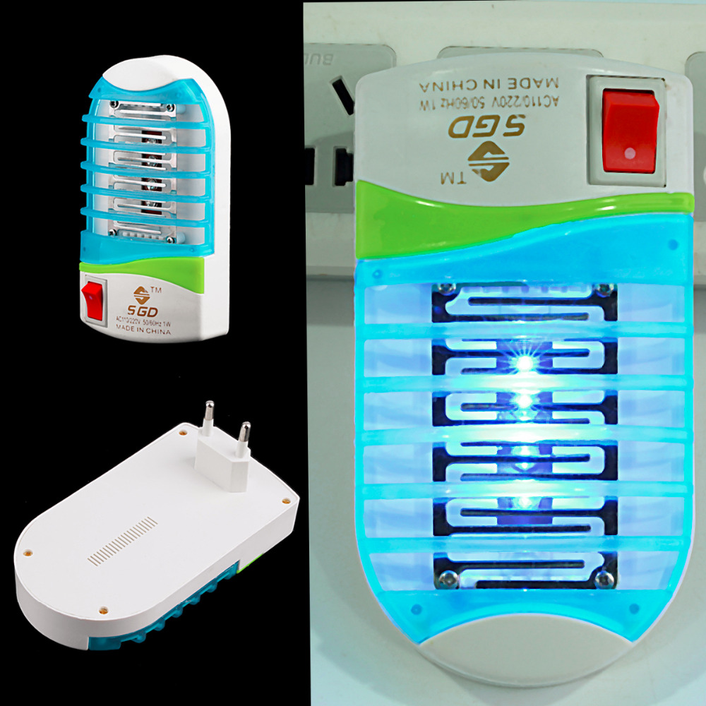 110-220V Home Practical LED Socket Electric Mosquito Repellent Fly Bug Insect Killer Trap Night Lamp Zapper EU Plug Random Color