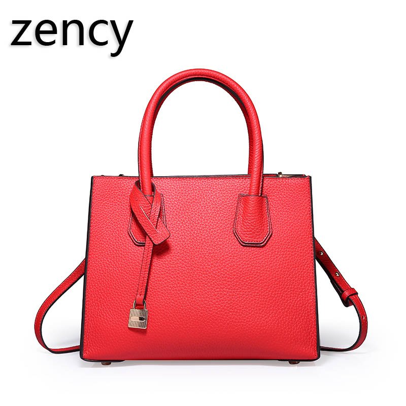 ZENCY Women Leather Tote Bags Female Bags Luxury Famous Brands Handbag Genuine Leather Tote Shoulder Messenger Bag 3 sizes zency bags handbags famous brands real genuine leather women handbag lady tote shoulder messenger bag