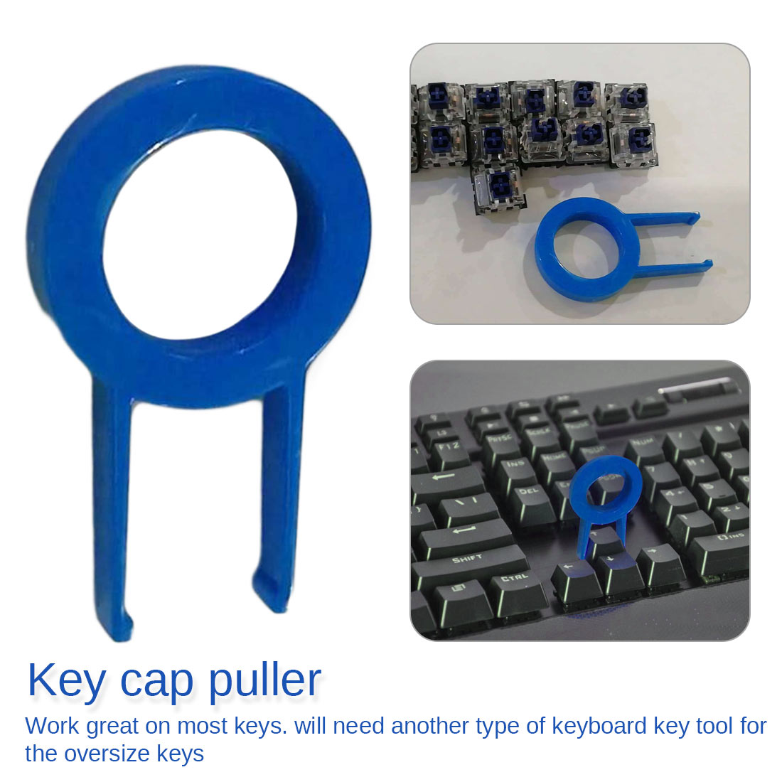 Keycap Puller Mechanical Keyboard Keyboard Key Cap Round Key Cap Fixing Tool Keycap Puller Remover Random Color Black Or Blue