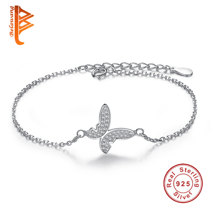 Authentic 925 Sterling Silver Jewelry CZ Crystal Fly Butterfly Charms Bracelets for Women With Chain Link Beads Bracelet YS1021