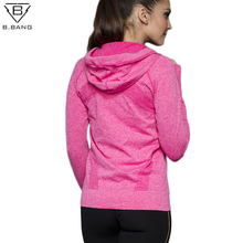 Quick-dry chaquetas b.bang long-sleeved hooded outerwear sweatshirt jackets gym zipper fitness