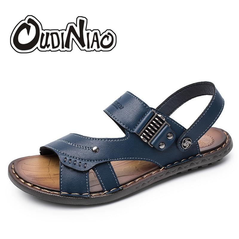 OUDINIAO Mens Shoes Patent Leather Designer Sandals Summer Slipper Men Shoes Beach Breathable Elastic Gladiator Slip Sandals Men