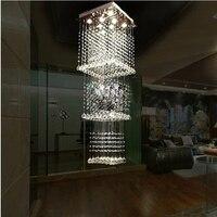 Новые роскошные 3 квадратные слои Geniune Хрустальный дождь падения света подвеска лампа загорается 3 слоя капля Обеденная