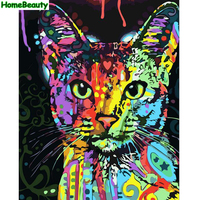 Home Beauty Diy Oil Painting By Number Wall Canvas Picture Cartoon Cat Abstract Coloring Drawing Paint