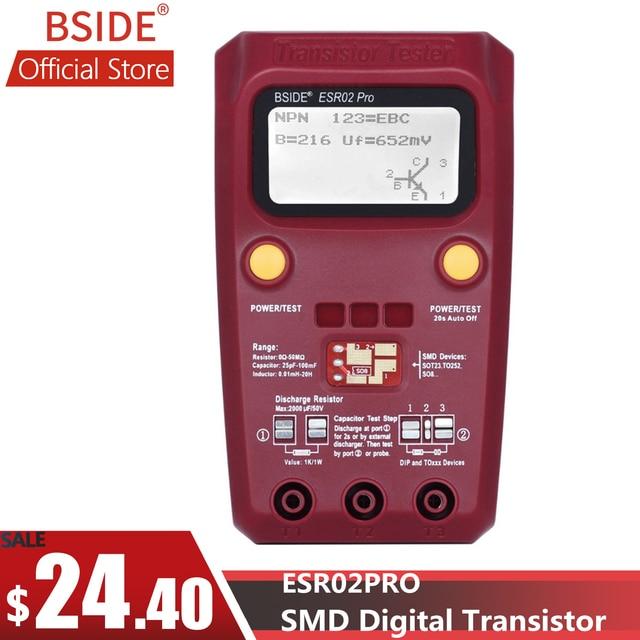 BSIDE ESR02PRO Digital Transistor SMD Components Tester Diode Triode Capacitance Inductance Multimeter ESR Meter