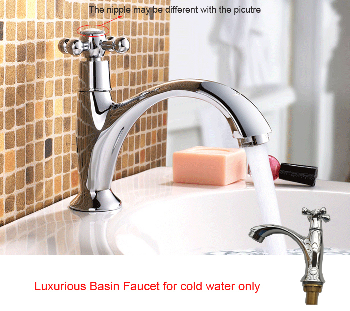 Buy zinc single hole handle cold water - Single hole cross handle bathroom faucet ...