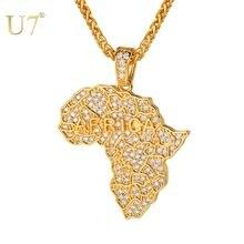 U7 подвески и ожерелья с картой Африки для женщин/мужчин Стразы