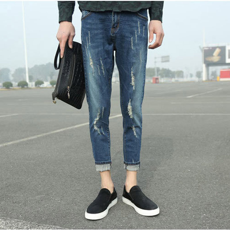 Fashion 2017 Spring Summer Indoor Youth jeans men straight stretch leisure Blue trousers ripped hole Ankle Length Pencil Pants