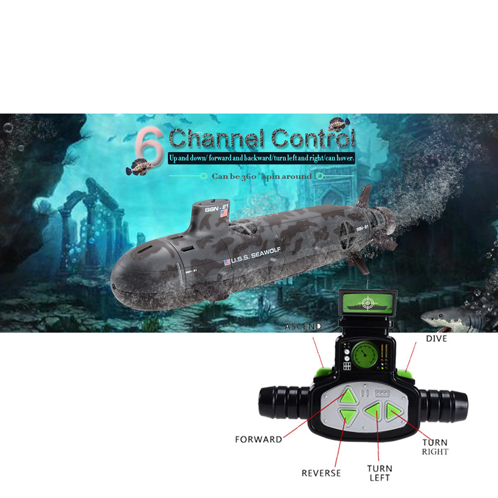 13000 U.S.S Seawolf Remote control Submarine RC 6-Channel Model Nuclear Energy Navy Remote Control Motorboat Electric Toy
