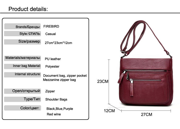 Women Leather Handbags Elegant Medvedkovo Shoulder Messenger Crossbody Bag Good Quality Pu Bolsa Feminina Fn589