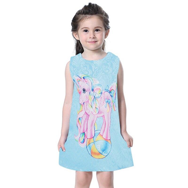 Girls Unicorn Dress Sleeveless Vintage Unicornio Summer Party Sundress Outfit