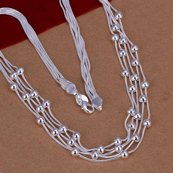 Free Shipping!!Wholesale silver plated Necklaces & Pendants,925 jewelry silver,Filve Line Beads Necklace SMTN213