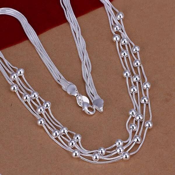 Miễn phí Vận Chuyển!! Sỉ mạ bạc Dây Chuyền và Mặt Dây Chuyền năm 925 trang sức bạc, Filve Dòng Hạt Vòng Cổ SMTN213