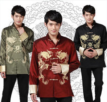 Chinese Traditional phoenix printed clothes dragon Tang suit clothing men's embroidered long sleeve Festival wedding jacket(China)