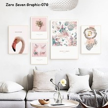 Flamingo Flower Phrase Canvas Painting Posters And Prints Living Room Wall Art Pictures Home Decoration(China)