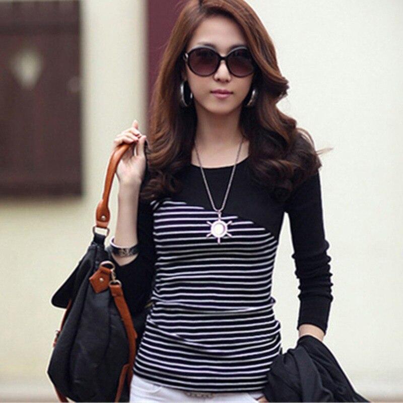 ROPALIA Korean Style Long Sleeve T Shirts Women Hot Sale Student T-shirt Womens Fashion Harajuku Striped Female Slim Femme Lady