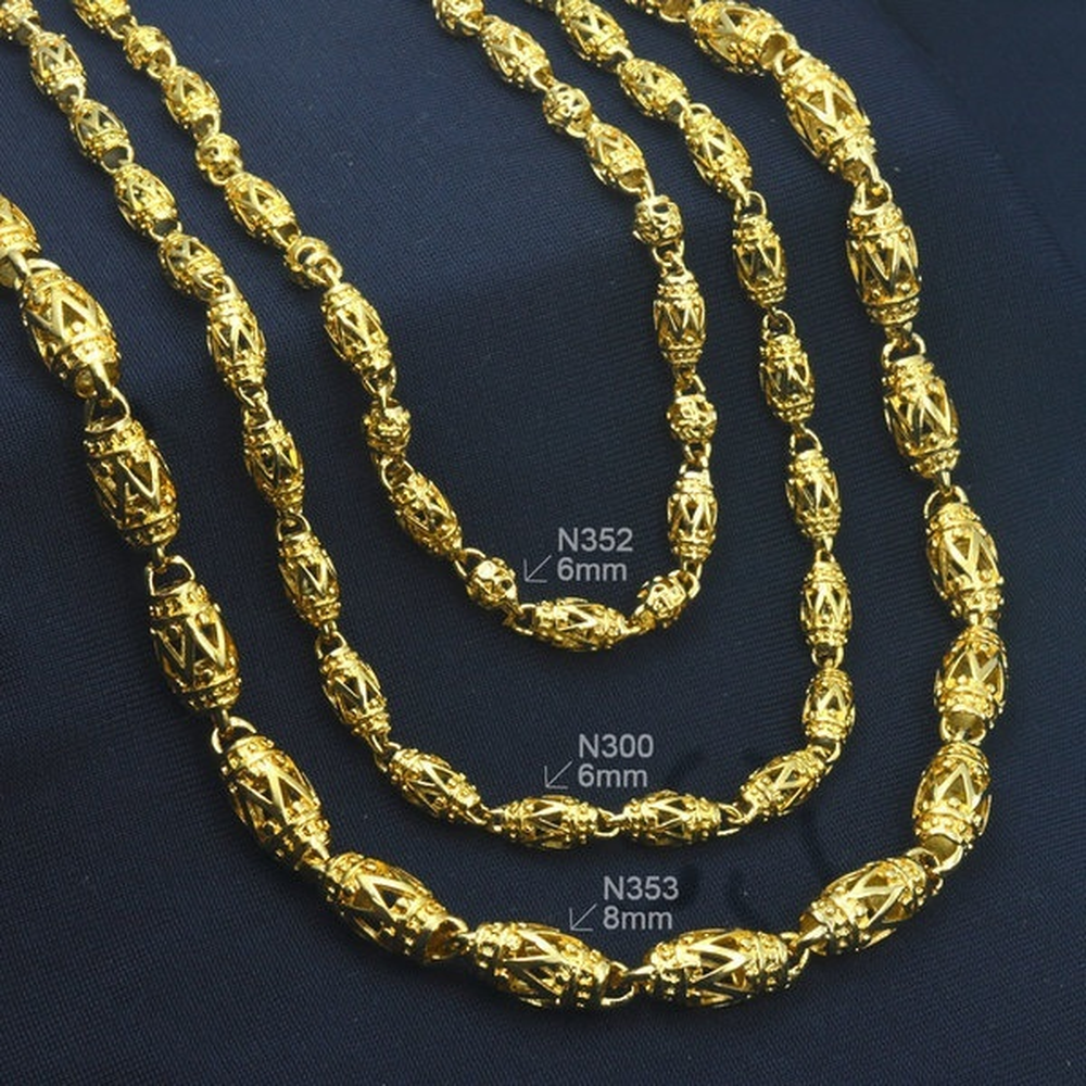 Luxury Mens Jewellery 18 k Gold Plated Necklace Gift Men Chain Wide 6 mm N300