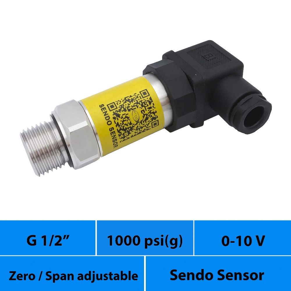 0 10V pressure sensor transducer 0 to 1000psi gauge pressure 24 vdc power g1 2 inch