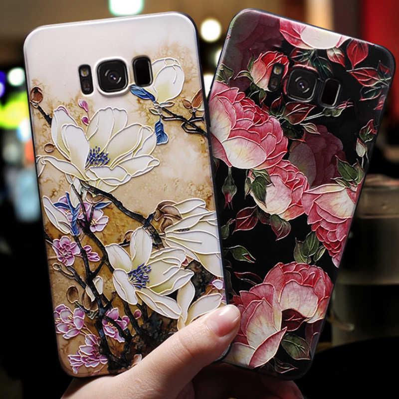 a4fb1f8b674 3D Relief Flower Case For Samsung Galaxy A7 A8 A6 Plus 2018 A5 A3 2017 2016