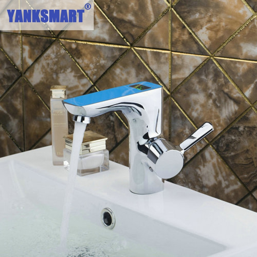YANKSMART Blue Digital Display Bathroom Chrome Brass Deck Mounted 97121 Ouboni Basin Faucets Torneira Sink Faucets,Mixers &Taps цена