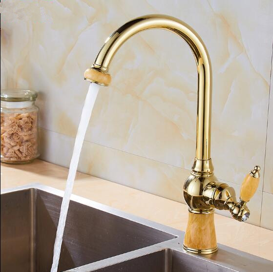 NEW Golden Brass and Jade Kitchen Faucet Swivel Basin Sink Mixer Tap Noble Gorgeous Kitchen Tap Mixer Single Handle Faucet new arrival tall bathroom sink faucet mixer cold and hot kitchen tap single hole water tap kitchen faucet torneira cozinha