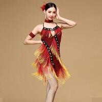 New 2016 Performance Ballroom Dancing Salsa Dance Dresses With Tassels Samba Carnival Costumes Latin Dance Dress