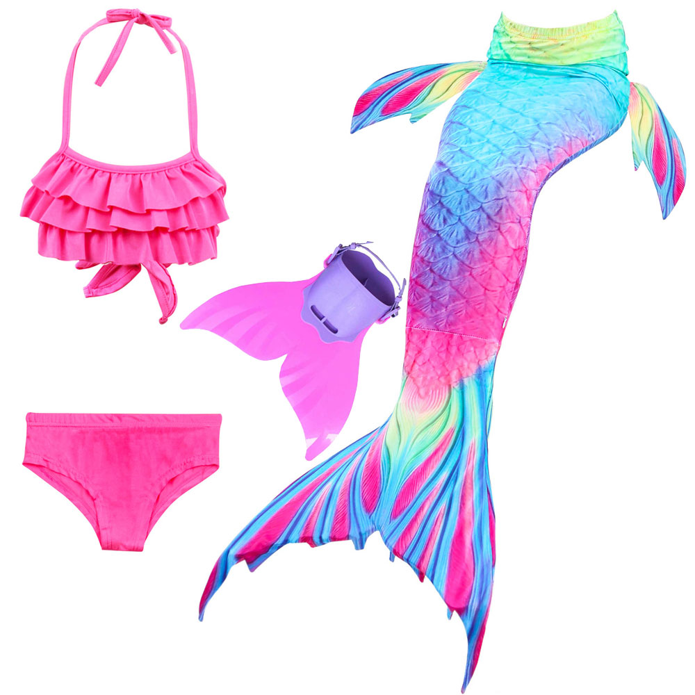 Girls Mermaid Princess Cosplay Swimmable Mermaid Tail Swimsuit For Girls 3pcs Bathing Suit And Monofin Swimwear