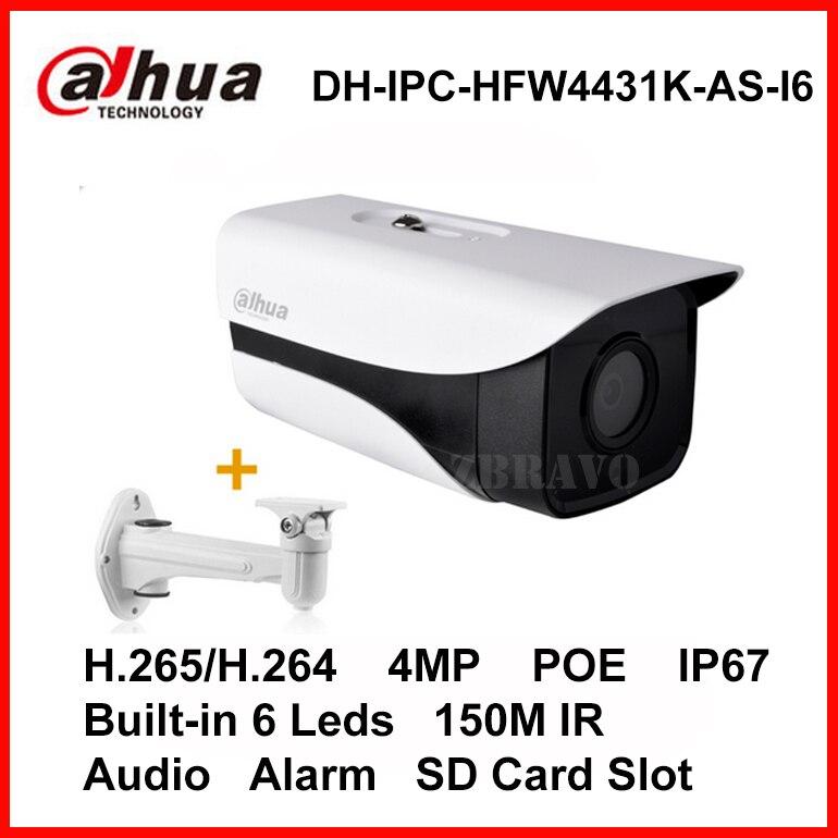Dahua Starlight H.265 4MP DH-IPC-HFW4431K-AS-I6 IP camera 150M Long IR POE Bullet IP Camera Micro SD Card Slot Audio Alarm IP67 wholesale dahua dh ipc hdbw4233r as 2mp ir mini dome network ip camera ir poe audio sd card stellar h265 h264 ipc hdbw4233r as