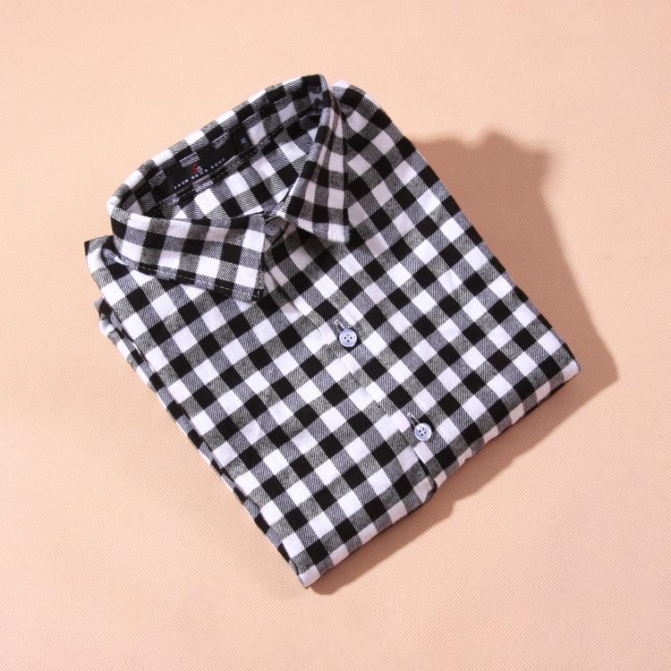 Bluzka koszula damska bluzka w kratę 100% bawełna Bluzka z długim - Ubrania Damskie - Zdjęcie 4