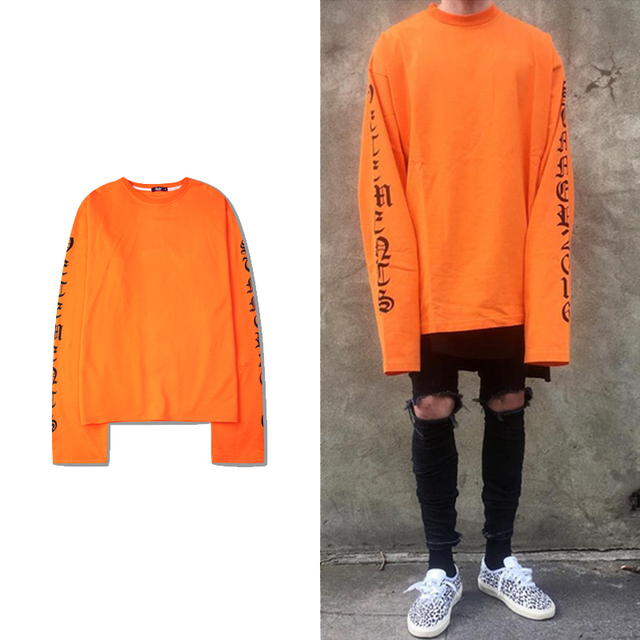 Camisa de grandes dimensões T Tyga Roupas Urbanas Harajuku Camisas Hip Hop Para Homens Mulheres Longa Carta Impresso Longa Tops Tees