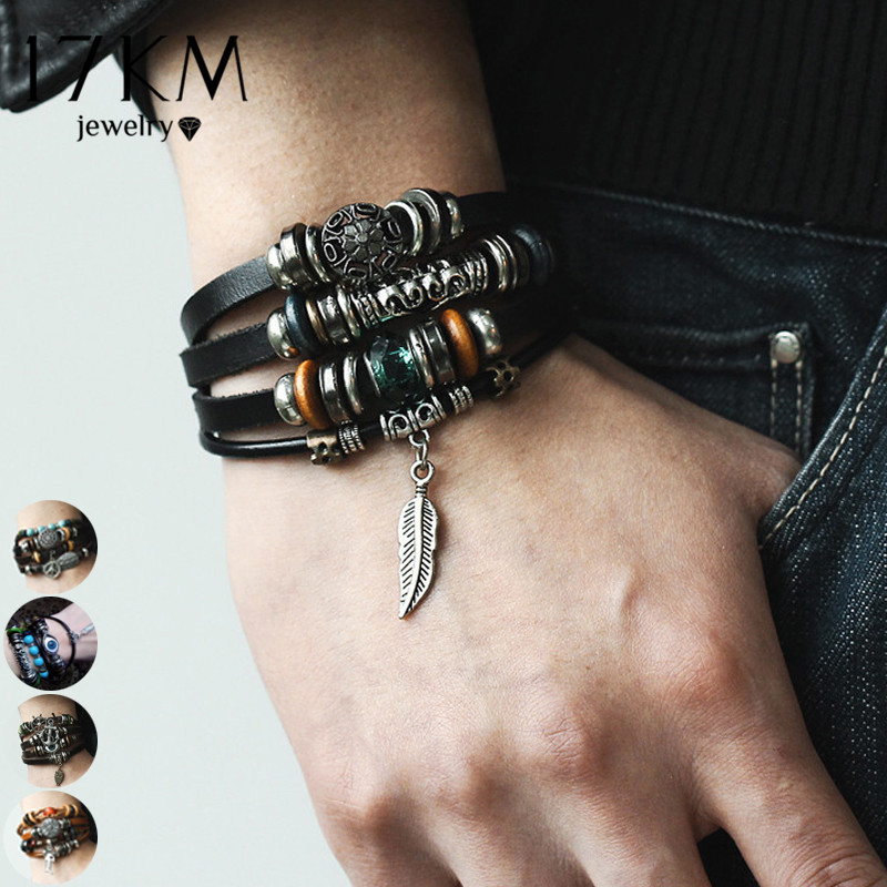 17KM 4 Design Leaf Feather Multiple Layer Charms Bracelet For Men Women 2018 Fashion Leather Bracelets Wristband Braid Bangles
