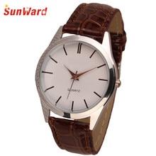 Санворд Relogio Feminino Для женщин мужские Женская кожаная обувь кварцевые аналоговые платье браслет наручные часы Мода Horloge 17Apr28